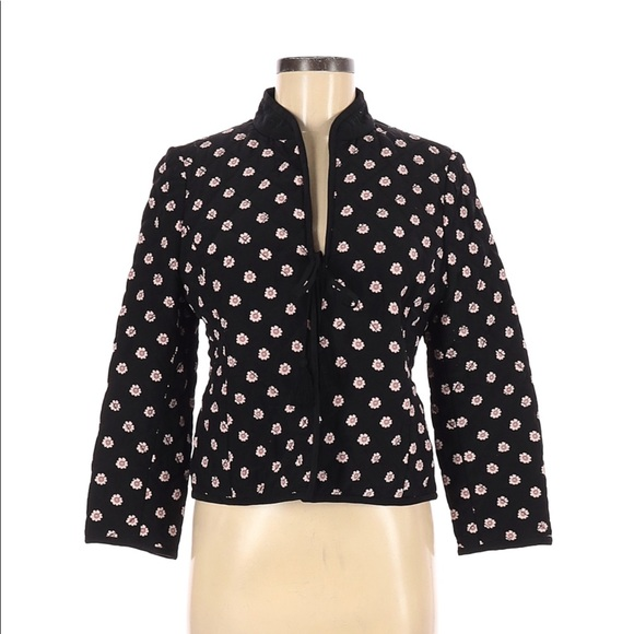 Kate Spade black and floral quilted jacket size 6